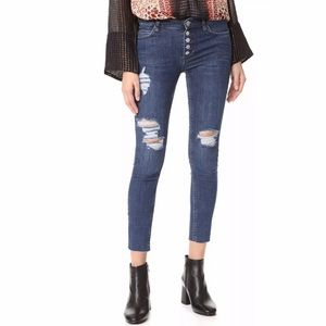 FREE PEOPLE Reagan Button Raw-Hem Skinny Jeans -28